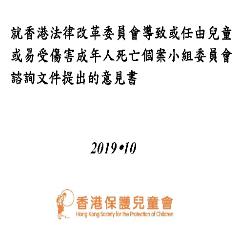 就香港法律改革委員會導致或任由兒童或易受傷害成年人死亡個案小組委員會諮詢文件提出的意見書