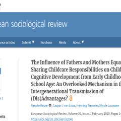 研究資訊:從幼兒至入學年齡父親和母親同等分享育兒責任對兒童認知發展的影響:一個被忽視的機制世代相傳的利弊?