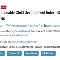 研究資訊:各國的可持續兒童發展指數(SCDI)